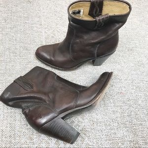 Frye June heeled short brown leather boot size 8